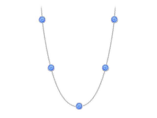 Diamonds By The Yard Blue Diffuse Sapphires Necklace on 14K White Gold Bezel Set 20.00 ct.tw