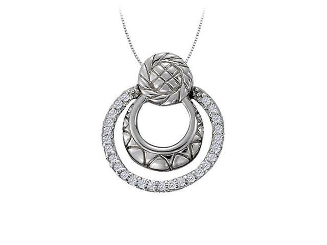 Diamond Triple Circle Pendant in 14K White Gold 0.25 CT TDWJewelry Gift for Women