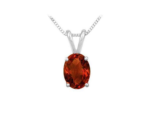 Garnet Solitaire Pendant in Rhodium Treated .925 Sterling Silver 2.00 CT TGW