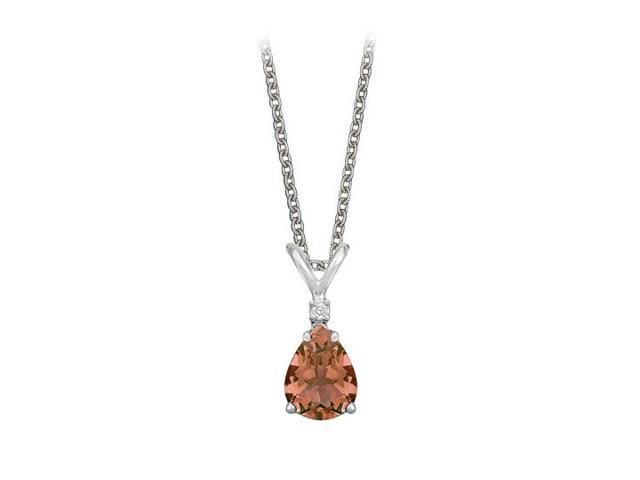 Pear Cut Smoky Quartz and Cubic Zirconia Pendant Necklace in Sterling Silver.1.02ct.tw