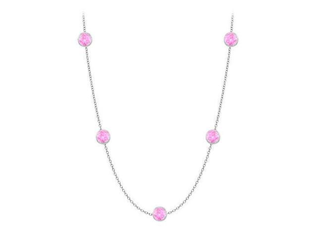 Diamonds By The Yard Created Pink Sapphires Necklace on 14K White Gold Bezel Set 20.00 ct.tw