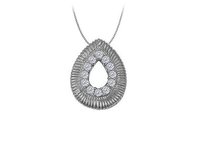 Diamond Tear Drop Pendant in 14K White Gold 0.10 CT TDWPerfect Jewelry Gift for Women