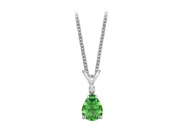 Pear Cut Created Emerald and Cubic Zirconia Pendant Necklace in Sterling Silver.1.02ct.tw