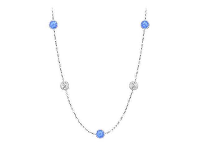 Diamonds By The Yard Blue Diffuse Sapphires and CZs on 14K White Gold Bezel Set 20.00 ct.tw