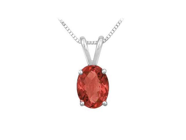 Ruby Solitaire Pendant in Rhodium Treated .925 Sterling Silver 3.00 CT TGW