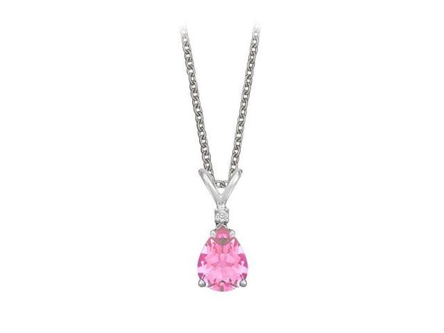 Pear Cut Created Pink Sapphire and Cubic Zirconia Pendant Necklace in Sterling Silver.1.02ct.tw