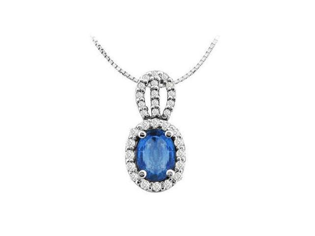 4 Carat Diffuse Sapphire Oval Pendant with Round CZ in  14K White Gold 4.50 Carat Total Gem Weig