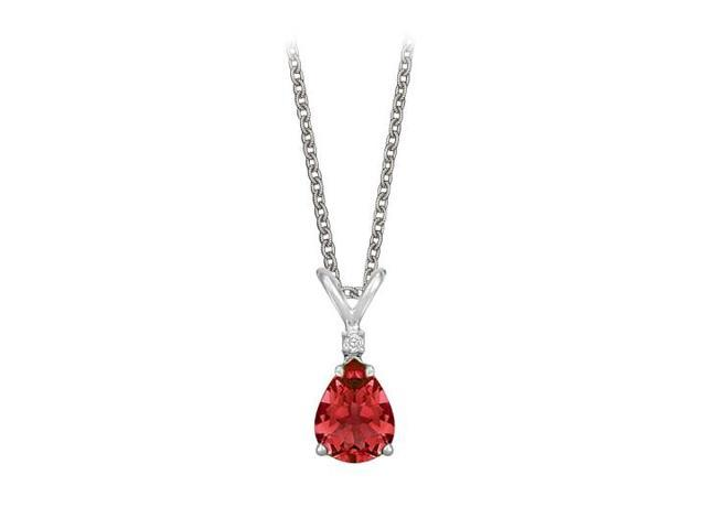 Pear Cut Created Ruby and Cubic Zirconia Pendant Necklace in Sterling Silver.1.02ct.tw