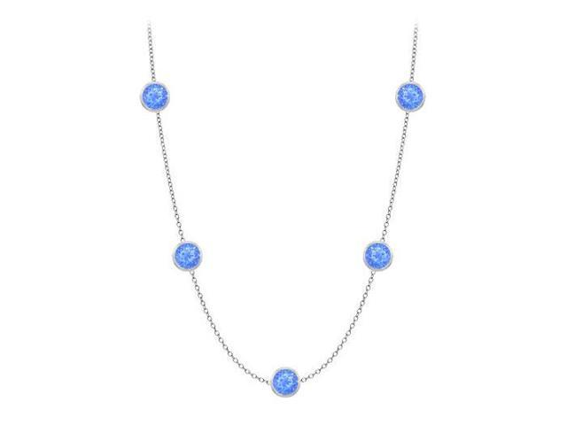 Diamonds By The Yard Blue Diffuse Sapphires Necklace on 14K White Gold Bezel Set 25.00 ct.tw