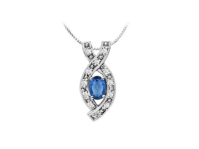 Diffuse Sapphire oval and round cubic zirconia pendant in 14k white gold 1.50 carat total gem we