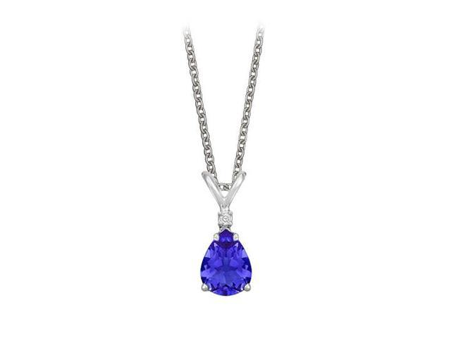 Pear Cut Created Sapphire and Cubic Zirconia Pendant Necklace in Sterling Silver.1.02ct.tw