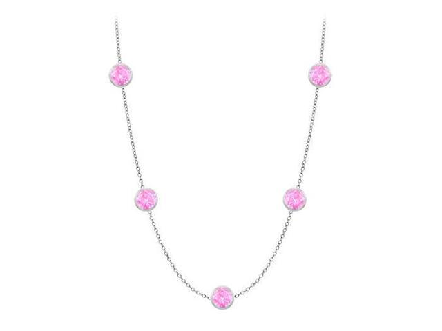 Diamonds By The Yard Created Pink Sapphires Necklace on 14K White Gold Bezel Set 25.00 ct.tw