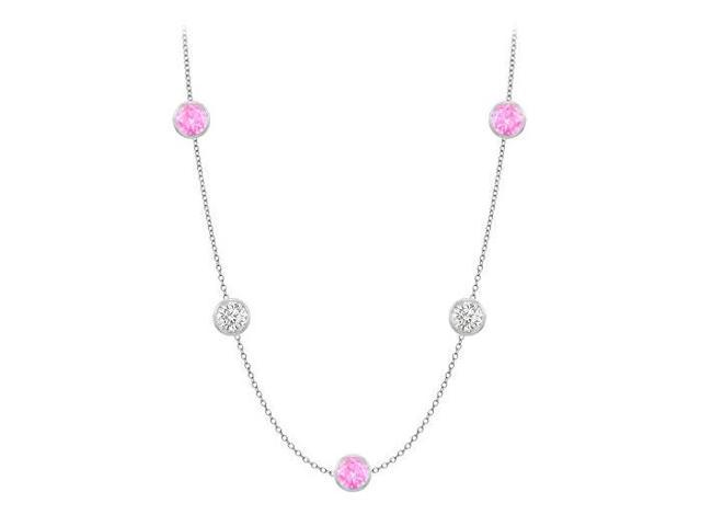 Diamonds By The Yard Created Pink Sapphires and CZs on 14K White Gold Bezel Set 25.00 ct.tw