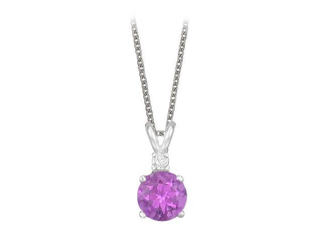 Round Cut Amethyst and Cubic Zirconia Pendant Necklace in Sterling Silver. 1.02.ct.tw.