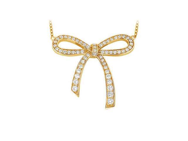 Diamond Bow Pendant  14K Yellow Gold - 0.33 CT Diamonds