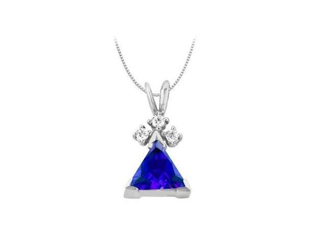 Trillion cut Diffuse Sapphire Pendant with Cubic Zirconia in 14K White Gold 2.60 Total gem Weigh