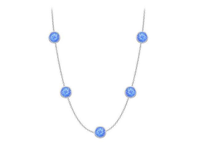 Diamonds By The Yard Blue Diffuse Sapphires Necklace on 14K White Gold Bezel Set 35.00 ct.tw