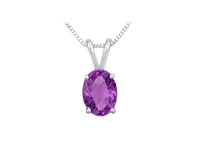 Amethyst Solitaire Pendant in Rhodium Treated .925 Sterling Silver 3.00 CT TGW
