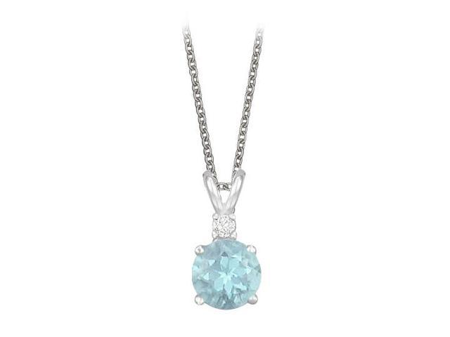 Round Cut Created Aquamarine and Cubic Zirconia Pendant Necklace in Sterling Silver. 1.02.ct.tw.