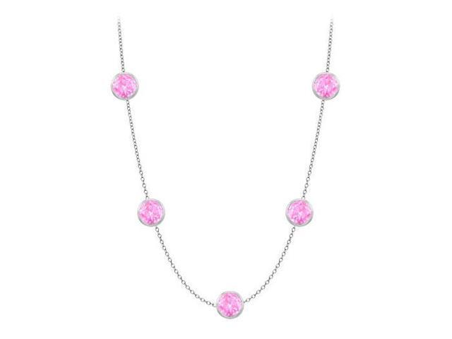 Diamonds By The Yard Created Pink Sapphires Necklace on 14K White Gold Bezel Set 35.00 ct.tw