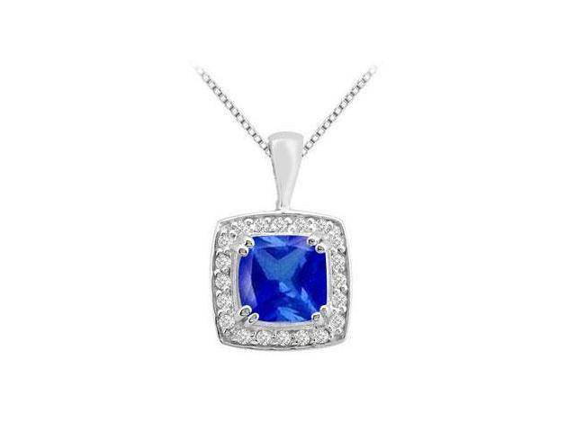 Cushion cut Diffuse Sapphire and Round Cubic Zirconia in 14K White Gold Pendant with 3.75 Carat