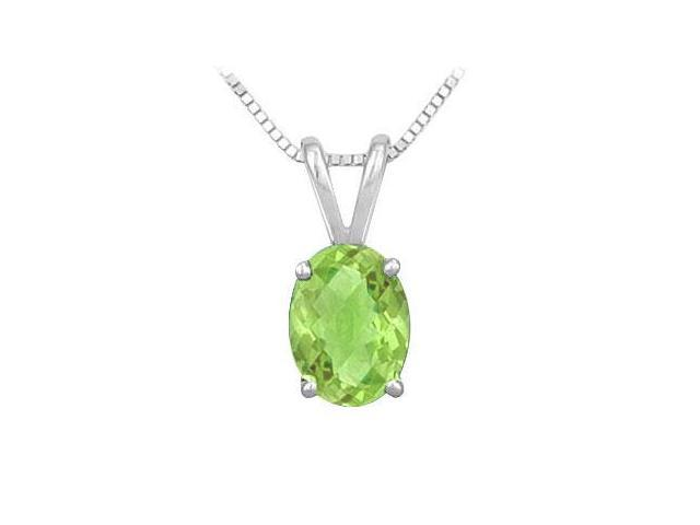 Peridot Solitaire Pendant in Rhodium Treated .925 Sterling Silver 3.00 CT TGW