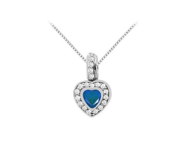 Heart Shape Diffuse Sapphire with Round Cubic Zirconia in 14K White Gold Pendant 1.50 Carat TGW