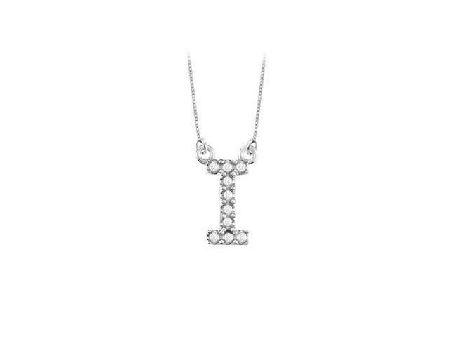 Petite Baby Charm Diamond I Initial Pendant  14K White Gold - 0.20 CT Diamonds