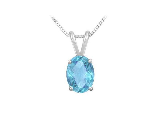 Blue Topaz Solitaire Pendant Rhodium Treated .925 Sterling Silver 3.00 CT TGW