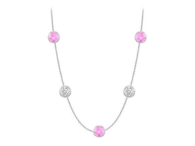 Diamonds By The Yard Created Pink Sapphires and CZs on 14K White Gold Bezel Set 35.00 ct.tw