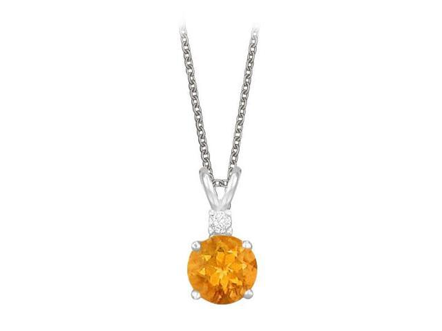 Round Cut Citrine and Cubic Zirconia Pendant Necklace in Sterling Silver. 1.02.ct.tw.