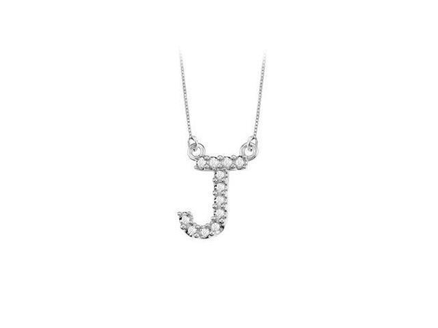 Petite Baby Charm Diamond J Initial Pendant  14K White Gold - 0.20 CT Diamonds