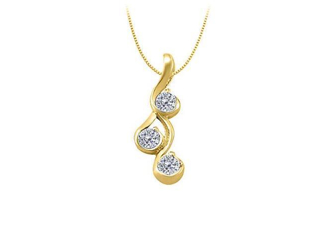 Three Stone Diamond Pendant in 14K Yellow Gold 0.25 CT TDWPerfect Jewelry for Women