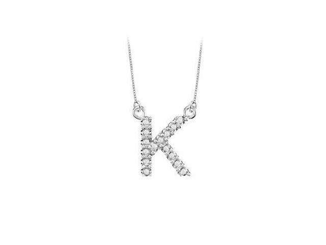 Petite Baby Charm Cubic Zirconia K Initial Pendant  .925 Sterling Silver - 0.25 CT TGW
