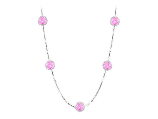 Diamonds By The Yard Created Pink Sapphires Necklace on 14K White Gold Bezel Set 50.00 ct.tw