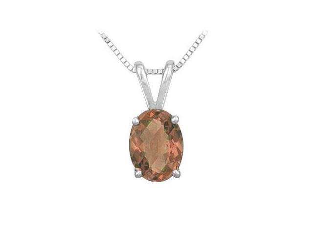 Smoky Topaz Solitaire Pendant in Rhodium Treated .925 Sterling Silver 3.00 CT TGW