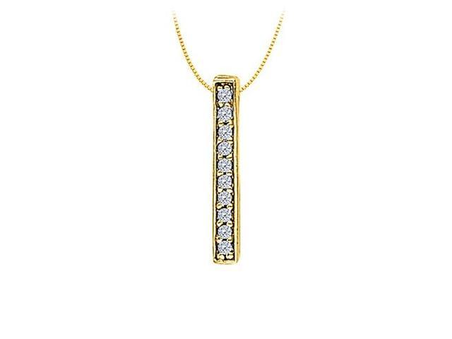 Diamond Straight Line Pendant in 14K Yellow Gold 0.10 CT TDWPerfect Jewelry Gift with Chain