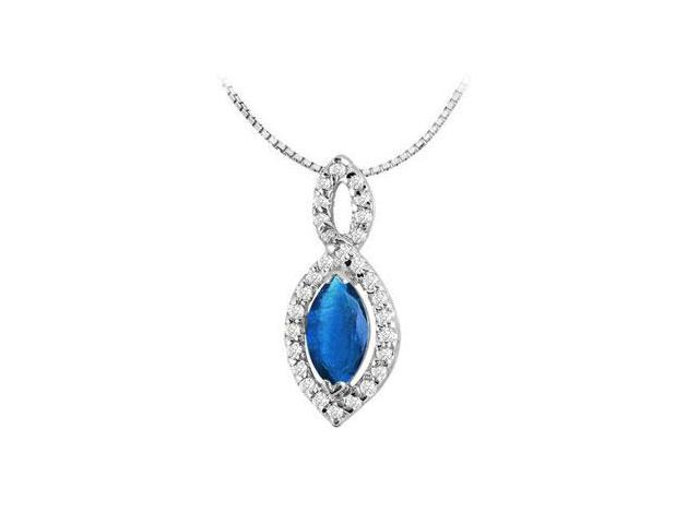 14k white gold marquise cut Diffuse Sapphire pendant with cubic zirconia of 1.30 carat total gem