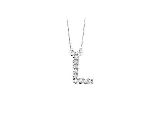 Petite Baby Charm Diamond L Initial Pendant  14K White Gold - 0.20 CT Diamonds