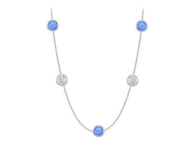 Diamonds By The Yard Blue Diffuse Sapphires and CZs on 14K White Gold Bezel Set 50.00 ct.tw