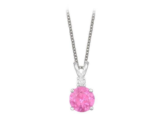 Round Cut Created Pink Topaz and Cubic Zirconia Pendant Necklace in Sterling Silver. 1.02.ct.tw.