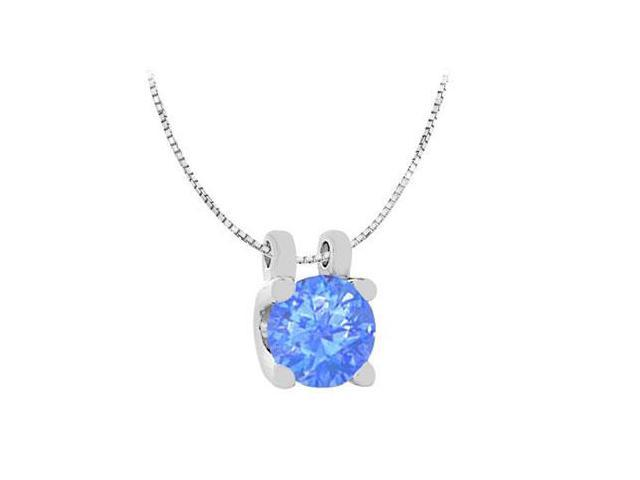 Brilliant Cut Round Diffuse Sapphire Solitaire Pendant in 14K White Gold Total Gem Weight of 1 C