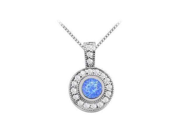 Bezel Set Round Diffuse Sapphire Pendant with Cubic Zirconia in White Gold 14K 2 Carat TGW