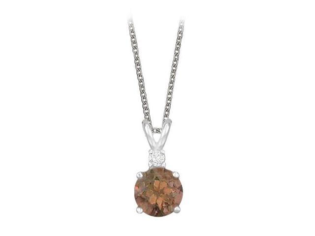 Round Cut Smoky Quartz and Cubic Zirconia Pendant Necklace in Sterling Silver. 1.02.ct.tw.