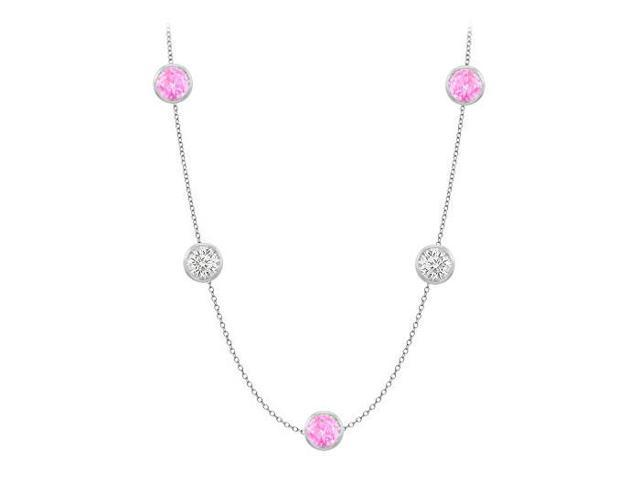 Diamonds By The Yard Created Pink Sapphires and CZs on 14K White Gold Bezel Set 50.00 ct.tw