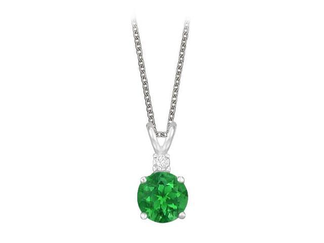 Round Cut Created Emerald and Cubic Zirconia Pendant Necklace in Sterling Silver. 1.02.ct.tw.
