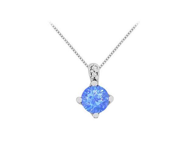 Big Diffuse Sapphire Pendant Necklace with Cubic Zirconia in 14K White Gold 1.27 Carat TGW