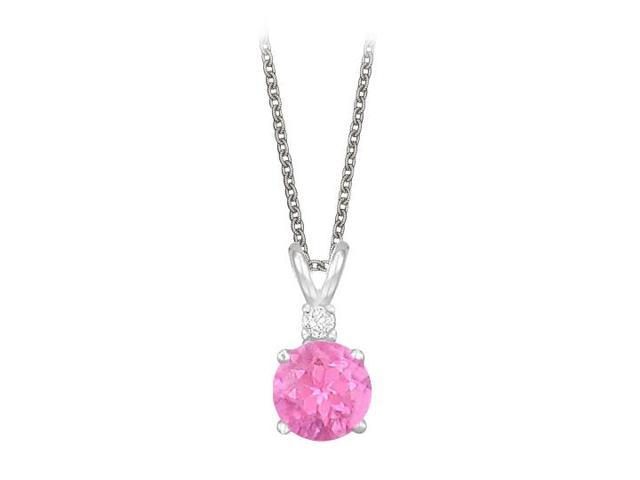 Round Cut Created Pink Sapphire and Cubic Zirconia Pendant Necklace in Sterling Silver. 1.02.ct.