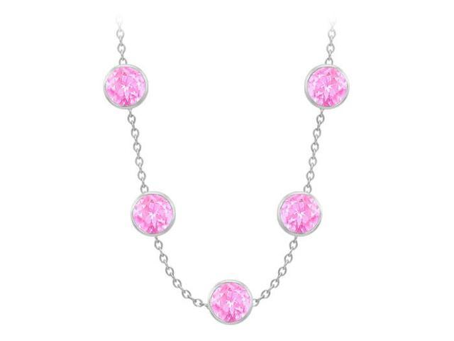 Diamonds By The Yard Created Pink Sapphires Necklace on 14K White Gold Bezel Set 75.00 ct.tw