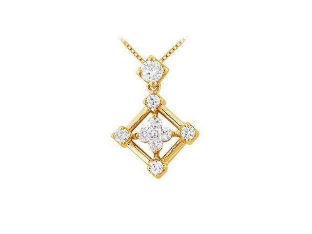 Diamond Square Pendant  14K Yellow Gold - 0.33 CT Diamonds